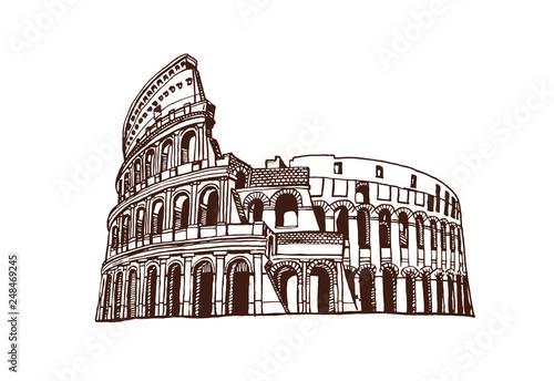Fototapeta Graphical vintage coliseum ,vector sketchy illustration,Rome ,Italy obraz