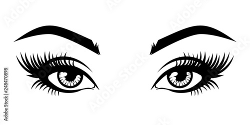 Plakaty do domu - mieszkania illustration-of-woman-s-sexy-luxurious-eye-with-eyebrows-and-full-lashes-idea-for-business-visit-card-typography-vector-perfect-salon-look