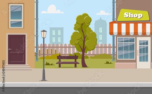 Fotografiet Cute cartoon town street with a shop, tree, bench, fence, street lamp