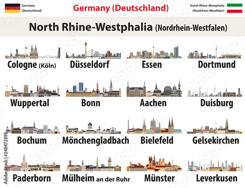 Photo vector set of Germany state North Rhine- Westphalia largest cities skylines icon