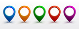 Set pin map marker pointer icon, GPS location flat symbol – vector