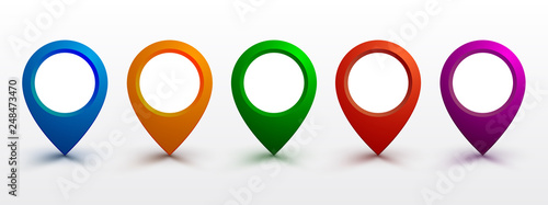 Cuadros en Lienzo Set pin map marker pointer icon, GPS location flat symbol – vector