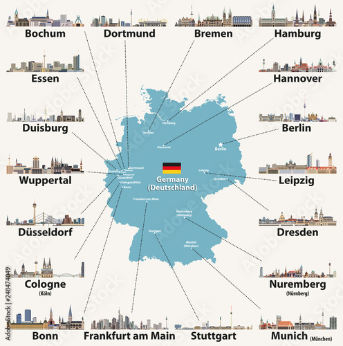 Germany map with largest cities skylines icons. Vector ...