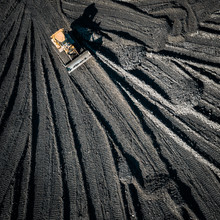 Open Pit Mine. Aerial View Of Extractive Industry For Coal. Top View. Photo Captured With Drone.