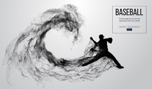 Abstract Silhouette Of A Baseball Player Pitcher On White Background From Particles, Smoke. Baseball Player Pitcher Throws The Ball . Background Can Be Changed To Any Other. Vector Illustration