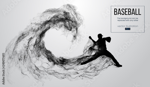 Cuadros en Lienzo Abstract silhouette of a baseball player pitcher on white background from particles, smoke