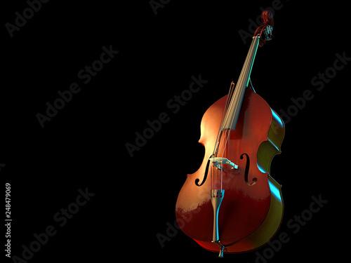 Fototapeta  Cello musical instrument isolated on black