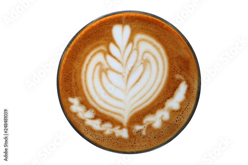 Fotografie, Obraz  Hot piccolo latte art with tulip pattern on top isolated on white background