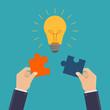 Creative business illustration concept, business hands connect bulb puzzle, flat design vector illustration