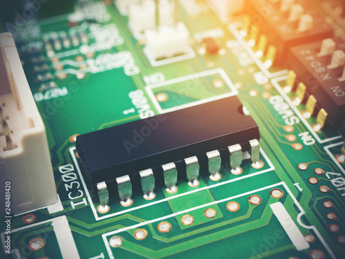 Fotografiet  High tech electronic PCB (Printed circuit board) with microchips processor techn