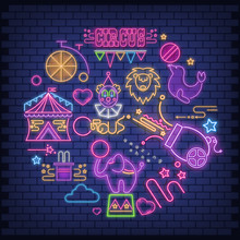 Circus Neon Glowing Icons