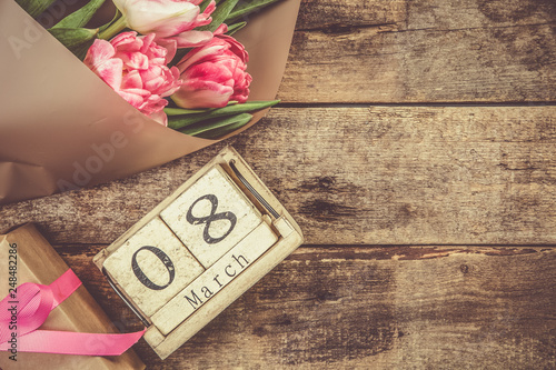 Obraz Women's day concept - calenday 8th march , present, flowers, copy space - fototapety do salonu