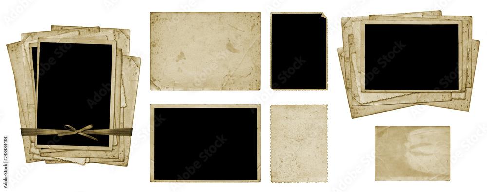 Fototapeta Set of old vintage dirty photo postcards and album sheets