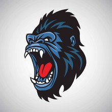 Angry Gorilla Mascot Cartoon Logo Vector