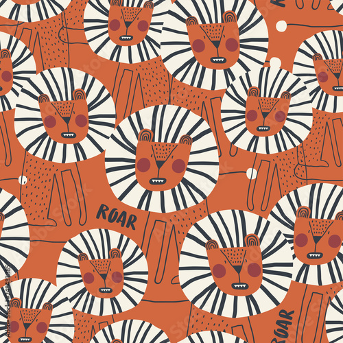 mata magnetyczna Cute seamless pattern with dangerous lion. Perfect for kids apparel, fabric, textile, nursery decoration, wrapping paper. Trendy scandinavian vector pattern.