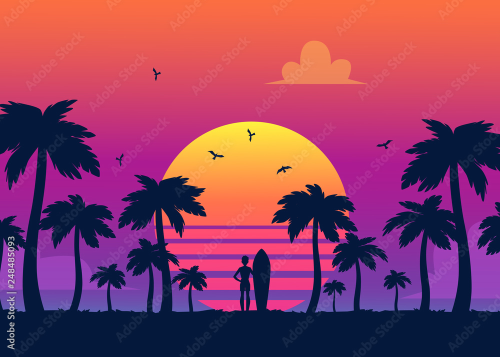 Fototapeta Silhouettes of tropical summer palm trees, surfer and the beach on the background of a gradient sunset.
