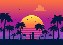 Silhouettes Of Tropical Summer Palm Trees, Surfer And The Beach On The Background Of A Gradient Sunset.