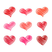 Set Of Nine Red Scribble Hearts
