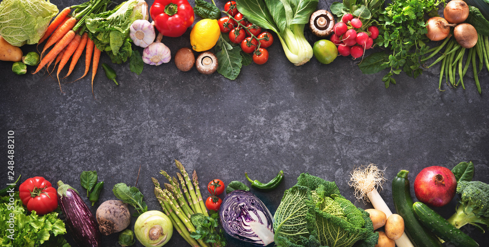 Fototapety, obrazy: Healthy food concept with fresh vegetables and ingredients for cooking