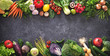 canvas print picture Healthy food concept with fresh vegetables and ingredients for cooking