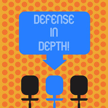 Writing Note Showing Defense In Depth. Business Photo Showcasing Arrangement Defensive Lines Or Fortifications Defend Others Space Color Arrow Pointing To One Of The Three Swivel Chairs