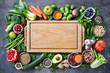 canvas print picture Healthy food selection with fruits, vegetables, seeds, super foods, cereals
