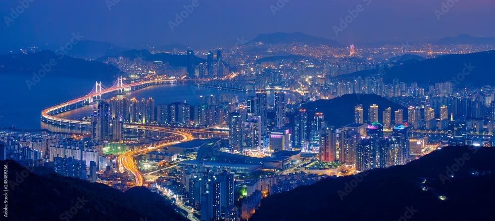 Fototapety, obrazy: Busan cityscape Gwangan Bridge at night