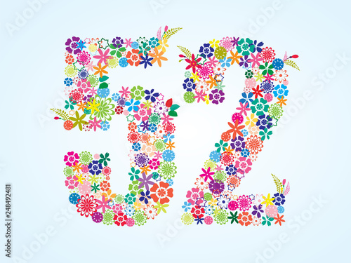 Fotografía  Vector Colorful Floral 52 Number Design isolated on white background