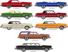 Vector Illustration Of 1970s Full-Size Luxury Cars