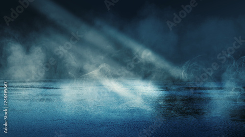 Background scene of empty street. Night view of the river, the night sky with clouds, the reflection of light on the water. Smoke fog - 248495667