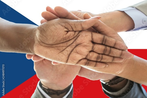 Fotografie, Obraz  Czech Republic flag, intergration of a multicultural group of young people