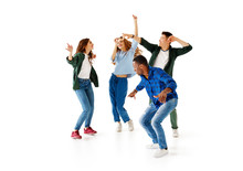 Group Of Cheerful Young People Men And Women Isolated On White Background.