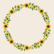 Floral Greeting Card And Invitation Template For Wedding Or Birthday Anniversary, Vector Circle Shape Of Text Box Label And Frame, Yellow Sunflower Wreath Ivy Style With Branch And Leaves.