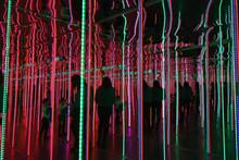 Bright Light Lines In The Mirror Maze
