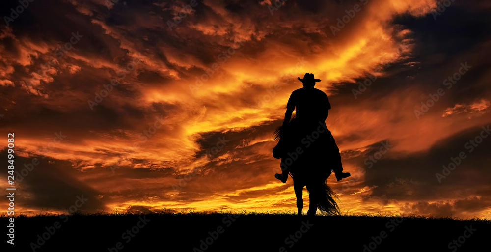 Fototapeta Cowboy on a horse at sunset