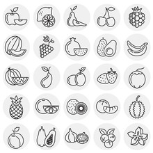 Fruit Icons Set On Circles Background For Graphic And Web Design, Modern Simple Vector Sign. Internet Concept. Trendy Symbol For Website Design Web Button Or Mobile App