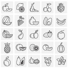 Fruit Icons Set On Squares Background For Graphic And Web Design, Modern Simple Vector Sign. Internet Concept. Trendy Symbol For Website Design Web Button Or Mobile App