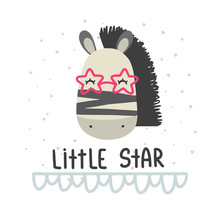 "Cute Vector Illustration With Deer Baby With Phrase ""little Star"" For Baby Wear And Invitation Card."