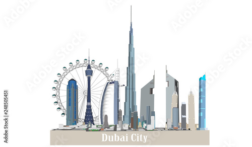 Photo Vector building dubai city white background