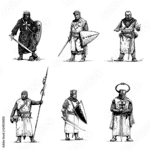 Cuadros en Lienzo Medieval knights illustration