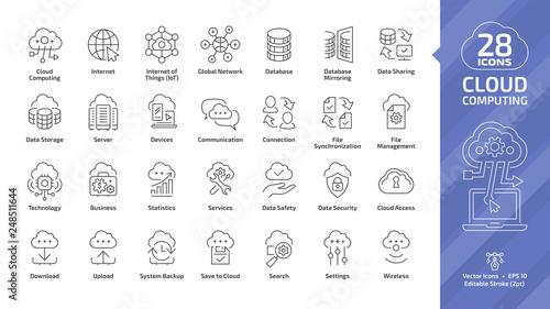 Fotografiet Cloud computing editable stroke outline icon set with global network data server and internet technology, database platform, computer digital system thin line sign