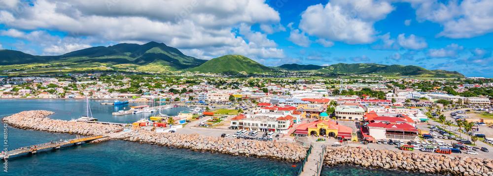 Fototapety, obrazy: Saint Kitts and Nevis, Caribbean.  Panoramic view of port Zante, Basseterre.
