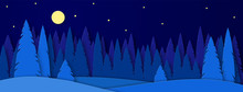 Banner For Social Networks Caps. Winter Landscape With House On A Moonlit Night. Snowy Trees In A Park Or Forest. Design In The Style Of Paper Art. Vector Illustration