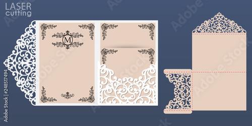 Laser Cut Wedding Invitation Card Vector Template Tri Fold