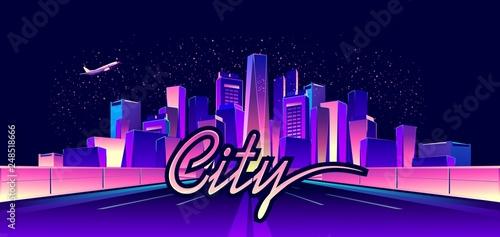 Fototapeta abstract neon city