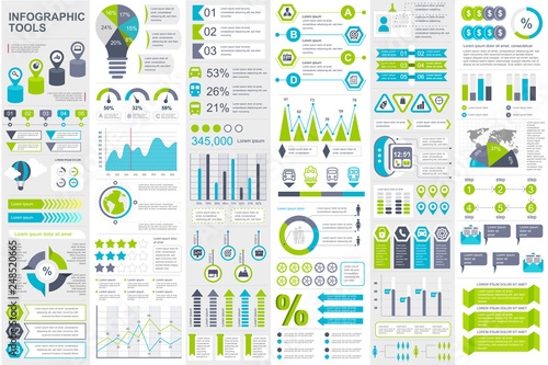 Photo  Infographic elements data visualization vector design template