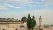 Clouds moving over Al-Aqsa Mosque in Jerusalem on the top of the Temple Mount.