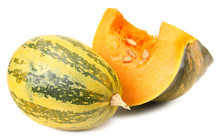 Pumpkin With Piece Of Pumpkin Isolated On White Background
