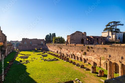 Valokuva  Ruins of Stadium Domitanus at the Palatine Hill in Rome, Italy