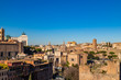 The cityscape skyline of Rome viewed from Palatine hill, Roman Forum, Italy